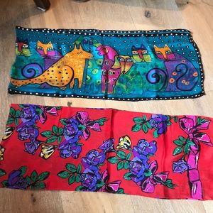 Two silk scarves -Liz Claiborne and Laurel Burch